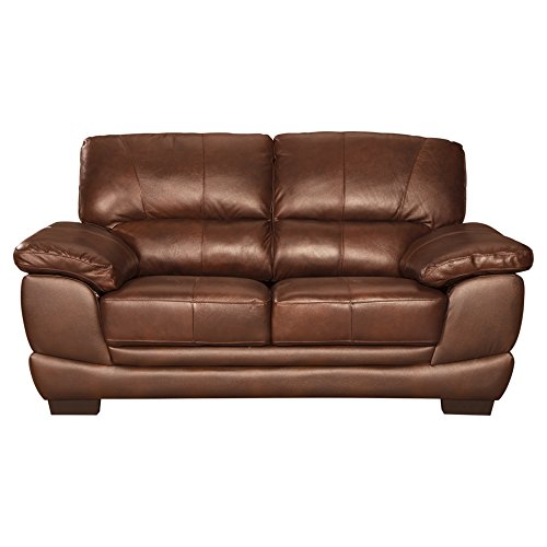 Sofa Signature Leather Set - Ashley Furniture Signature Design - Fontenot Contemporary Leather Loveseat - Chocolate