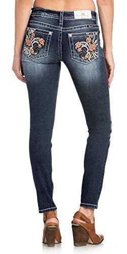 - Miss Me Women's Rose Fleur-de-lis Embellished Pocket Mid-Rise Skinny Jeans (Dark Blue, 27)