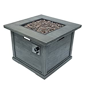Ellesmere Outdoor Grey Wood Patterned Square Gas Fire Pit
