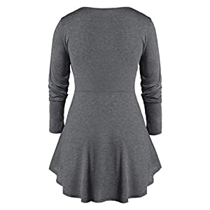 RUIVE Plus Size Tops for Women's Casual Marled Sweetheart Collar Pleated Tunic Flare Blouse Ladies Basic Sweatshirt