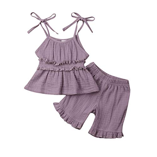 - Kids Girl 2Pcs Linen Outfits Strappy Bow Top + Ruffle Short Clothes Sets Jumpsuit for 1-6 Years (5-6 Years, Purple)