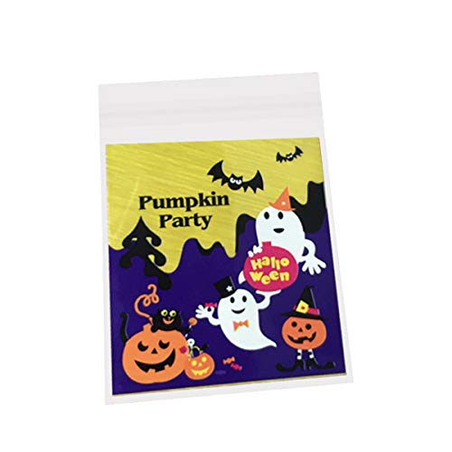 Toyvian 100pcs Plastic Bags self-Adhesive cellophane Treat Bags Cookie Candy Bags self Adhesive Party Halloween(Ghost and Bat)