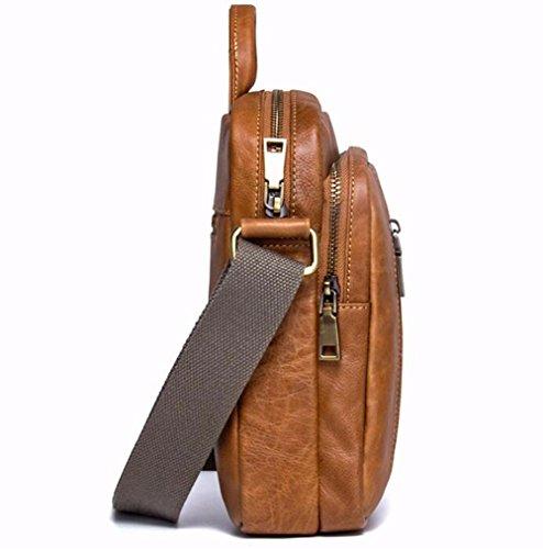 marron hombro Black de de sección de Brown vertical la 10 transversal bolso negro de mano solo Los casual bolsa bolso de moda Surnoy hombres cuero hombres pulgadas de wX4qF4