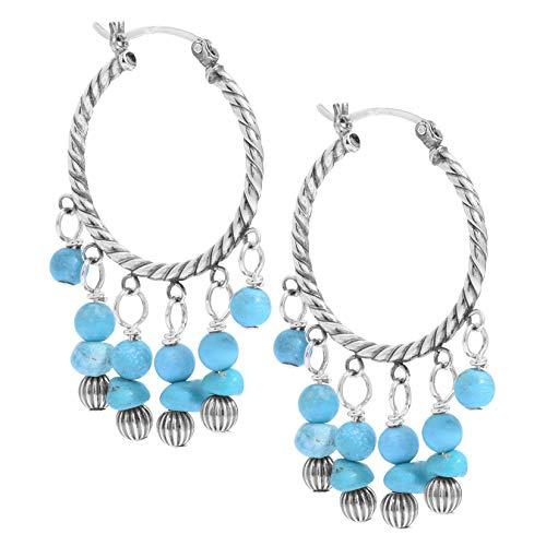 American West Sterling Silver Blue Turquoise Gemstone and Silver Beaded Chandlier Hoop Earrings