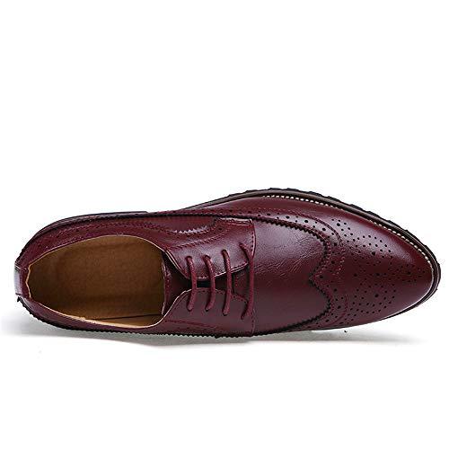 per Rosso Scarpe tacco piatto shoes uomo tempo Pelle oxford stringate con libero il Jiuyue 44 Dimensione unita da in Rosso 2018 Uomo Color EU Scarpe tinta 1O0qXwE