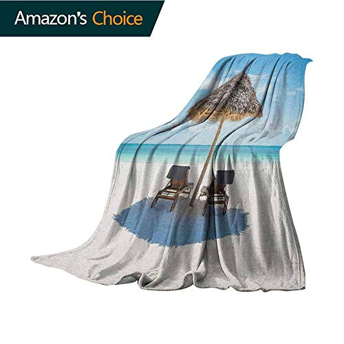 Seaside Pool Blanket,Wooden Sun Loungers Facing Eastern Ocean Under a Thatched Umbrella in Zanzibar Microfiber All Season Blanket for Bed or Couch Multicolor,70