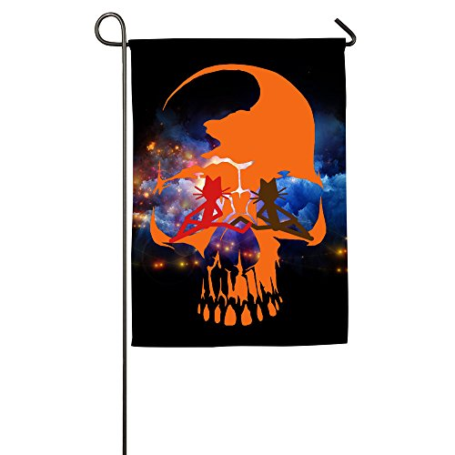 Umison Kittycat On Skull Decorative Garden Flag Classic Family Banner 1218inch (Coolest Cartoon Characters)