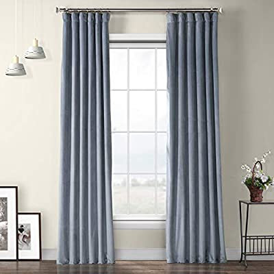 "HPD HALF PRICE DRAPES Heritage Plush Velvet Curtain, 50 x 96, Denmark Blue - VPYC-179920-96 - SOLD PER PANEL | 3"" Pole Pocket with Hook Belt & Back Tabs 
