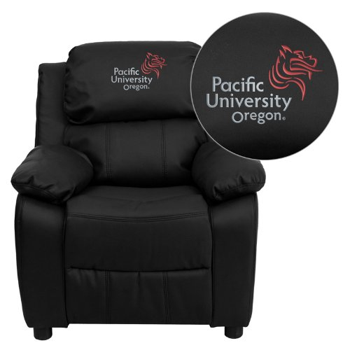 Flash Furniture Pacific University Oregon Boxers Embroidered Black Leather Kids Recliner with Storage Arms ()