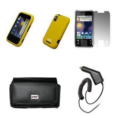 Laentina EMPIRE Black Leather Case Pouch with Belt Clip and Belt Loops + Yellow Rubberized Snap-On Cover Case + Screen...