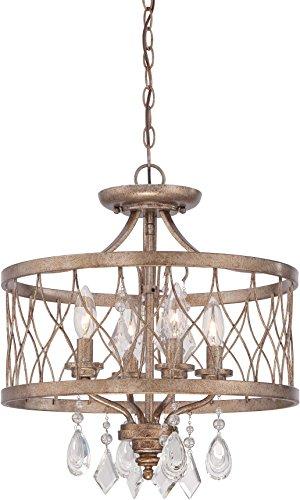 Minka Lavery 4403-581 West Liberty Round Lighting Fixture Crystal Semi Flush Mount Ceiling Light, 4 Light, 240 Watts, Olympus ()