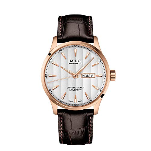 Mido Men's Multifort Chronometer 1 42mm Brown Leather Band Automatic White Dial Watch M038.431.36.031.00