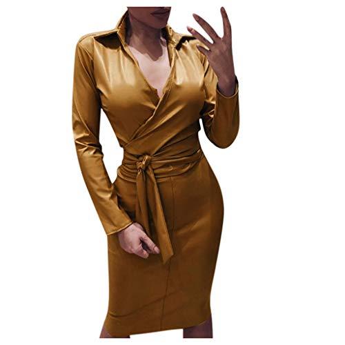 Floweworld Damen Leder Kleider Fashion Langarm Solid Color V-Ausschnitt Abend Party Club Kleider mit Gürtel Slim Fit Body-Con Midi Kleider