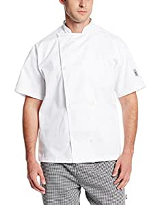 Chef Revival J005 Poly Cotton Knife and Steel Short Sleeve Chef Jacket with White Chef Logo Button, Large, White