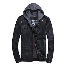 MedzRE Men's Classic Faux Leather Zip Hooded Biker Rock Punk Jacket Coat
