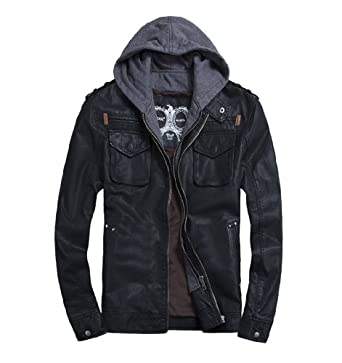 Voguehive Men S Cool Zip Up Leather Hooded Biker Jacket