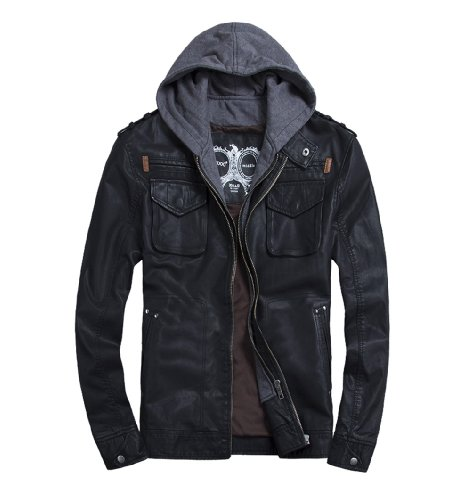 - TH000 Mens Classic Zip PU Leather Hooded Biker Rock Punk Jackets Black L