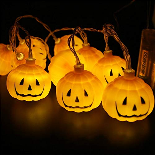 SISIMOM Halloween String Lights, LED Light String Halloween Holiday Lights Pumpkin Ghost Eye Spider Party Props Fairy Battery Decoration (Pumpkin,10ft 20leds) ()