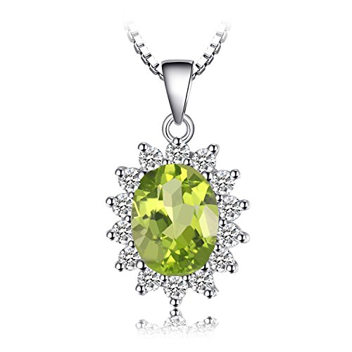 Jewelrypalace 2.2ct Gemstones Birthstone Natural Peridot 925 Sterling Silver Halo Pendant Necklace For Women Princess Diana William Kate Middleton Necklace Chain Box 18 ()