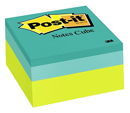 Post-it Notes Cube, America's #1 Favorite Sticky Note, 3 in x 3 in, Green Wave, 400 Sheets/Cube -