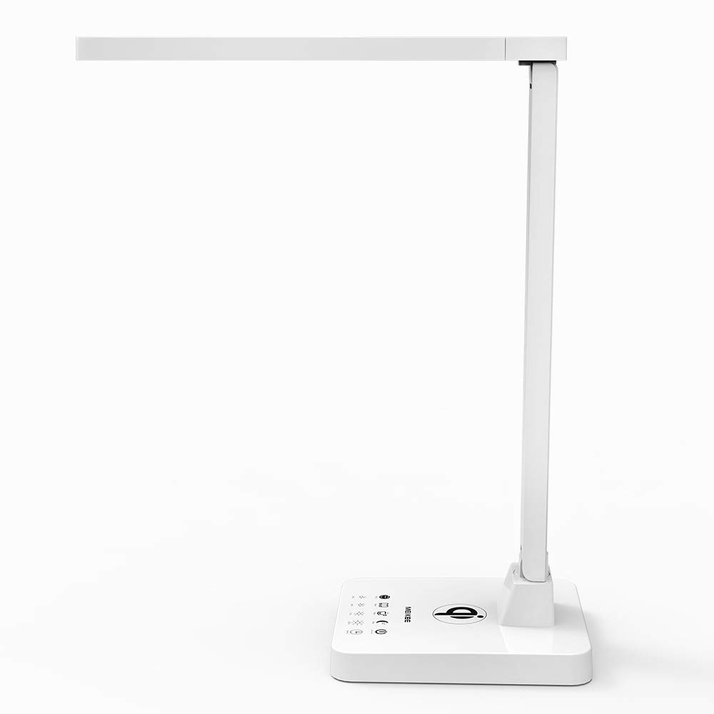 MEIKEE 12W LED-Schreibtischleuchte 16 Modi 300-1200LM bequem hell Tischleuchte mit Touchdimmer flexibel Schreibtischbeleuchtung mit Speicherfunktion u. 1 Std. Timer Schreibtischlampe mit Qi-Technologie u. USB-Anschlüssen Lichtfarbe individuell einstellbar