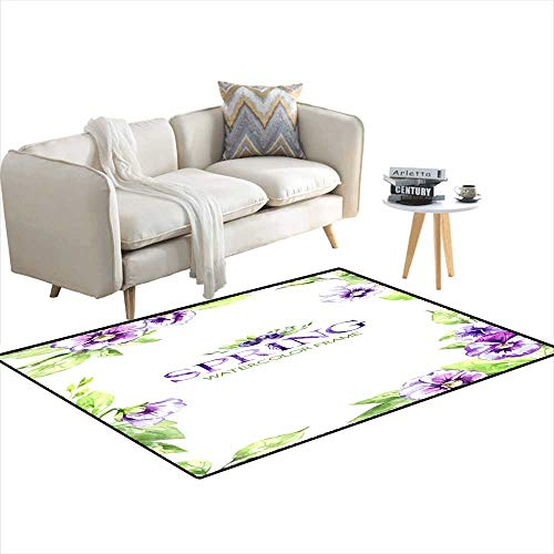- Extra Large Area Rug Hanpainteframe wi Watercolor Spring Flowers anleaves Original Handrawn Illustration Pansies Flowers Template Design Bo 40