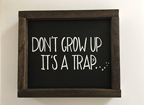 Campfire Framed (Don't Grow Up, It's a Trap Wood Framed Sign)