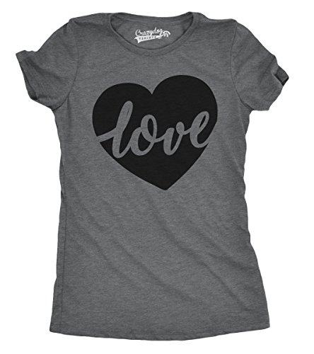 Womens Love Script Heart Cute Valentines Day Relationship T Shirt for Ladies (Grey) (Heart Love Ladies Fitted Tee)