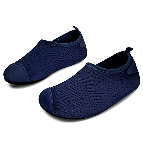 L-RUN Boys Girls Water Shoes Quick Drying Swim Shoes Slip-on Dot_Navy 8-8.5=EU 24-25