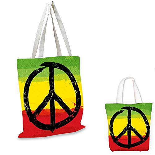 (Rasta non woven shopping bag Grunge Style Watercolor Design African Flag Colors Hippie Peace Sign funny reusable shopping bag Black Green Yellow and Red. 16