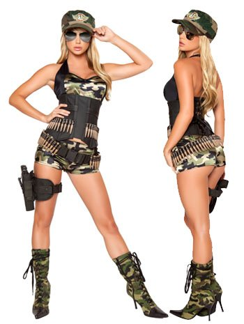 Sexy Soldier Adult Costume - Medium/Large - Military Pin Up Girl Costumes