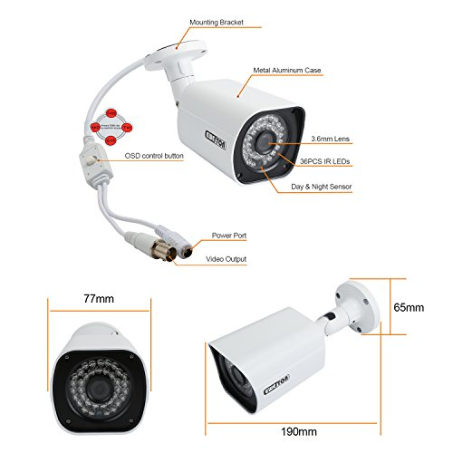 EWETON 1080P Bullet Security Camera, HD Hybrid 4-in-1 TVI/CVI/AHD/960H Waterproof Indoor/Outdoor Surveillance Camera 2.0MP 1920x1080, 36 LED 115ft Night Vision 3.6mm Lens UTC OSD