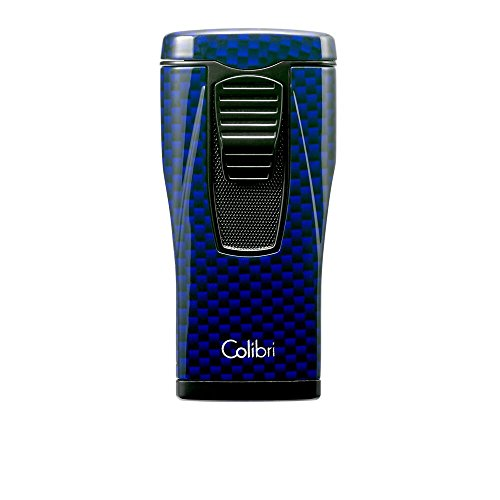 Colibri Monaco Triple Flame Lighter - Blue Carbon Fiber Print