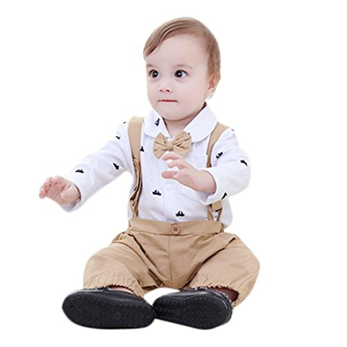 Children Baby Boy Gentleman Boat Print Bowtie Pocket Romper Overall Clothes Set Outfits -