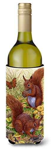 Caroline's Treasures Red Squirrels Wine Bottle Koozie Hugger, 750 ml, Multicolor (Squirrel Koozie Beer)