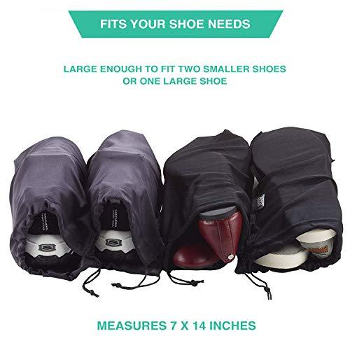 41G36dAORPL - Lewis N. Clark Drawstring Bag Nylon Shoe Covers for Travel, Women & Men, 2 pair, Charcoal/Black