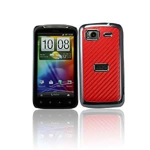 Carbon Fiber Leather Skin Chrome Side Hard Case Cover for HTC Sensation 4G - Red