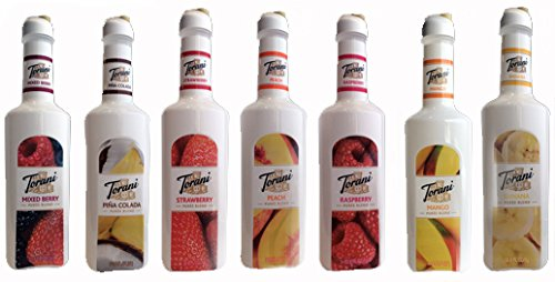 Torani Puree Mixed Berry, Strawberry, Pina Colada, Peach, Raspberry, Mango & Banana 1 Ltr Each (7pack)