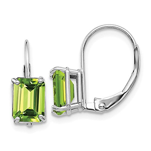 Earring Cut Peridot Emerald 7x5mm (FB Jewels Solid 14K White Gold 7X5mm Emerald Cut Peridot Leverback Earrings)