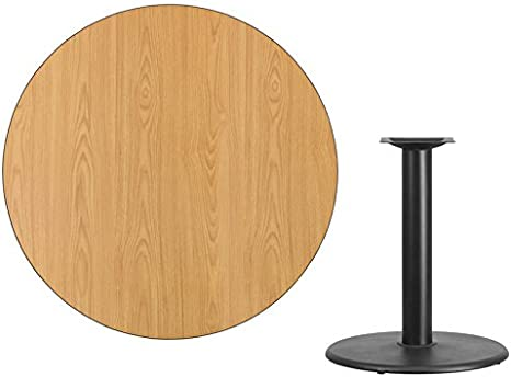 Bar Height Restaurant Table 42 Round Natural Laminate Table Top with Round Base