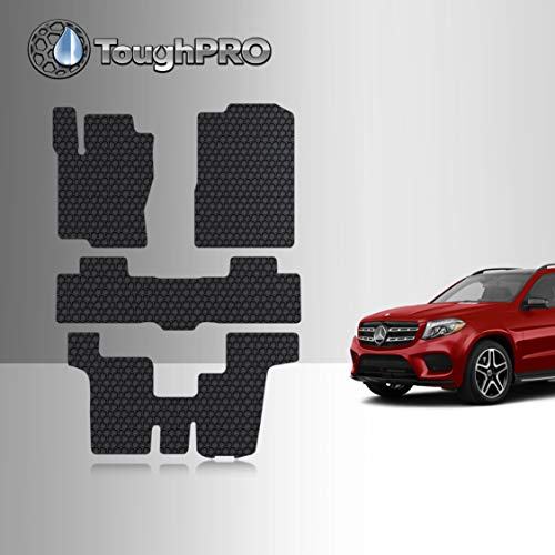 TOUGHPRO Floor Mat Accessories 1st + 2nd + 3rd Row Compatible with M-Benz GL450 GLS350d GLS450 GLS550 GLS63 AMG - All Weather - Heavy Duty - Black Rubber - 2013