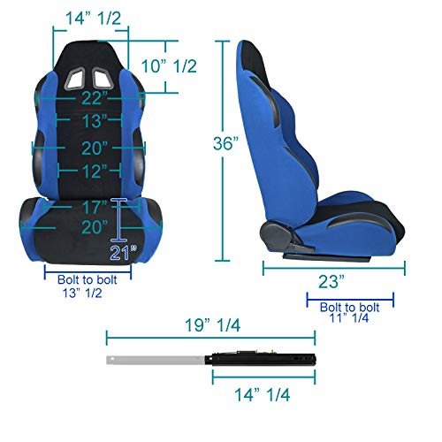 [L+R] Black/Light Blue Fabric Cloth Reclinable Sport Racing Seats w/Sliders by Spec-D Tuning (Image #2)