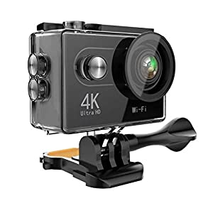 Action Camera 4K WiFi Ultra HD Waterproof Sport Camera 2 Inch LCD Screen 12MP 170 Degree Wide Angle 2 Rechargeable Batteries Free Travel Bag Include 19 Accessories Kits