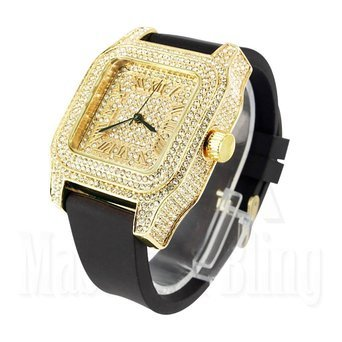 Lab Diamond Techno Pave Watch 14k Yellow Gold Finish Mens Silicone Band (Iced Out Square Watch)