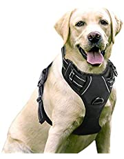 Rabbitgoo Front Range Dog Harness No-Pull Pet Harness Adjustable Outdoor Pet Vest 3M Reflective Oxford Material Vest for Dogs Easy Control for Small Medium Large Dogs (Large, Black)