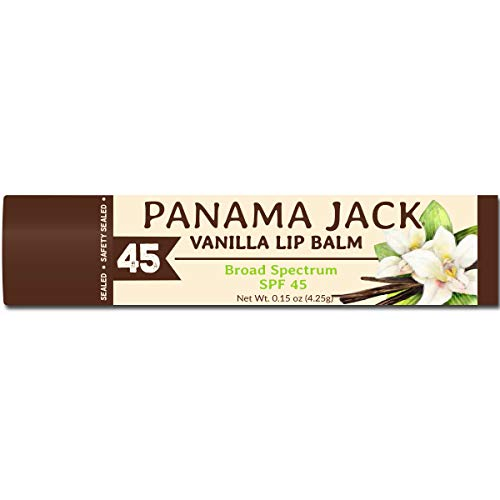 Panama Jack SPF 45 Sunscreen Vanilla Lip Balm, Broad Spectrum, Prevents & Soothes Dry, Chapped Lips (Pack of 3)