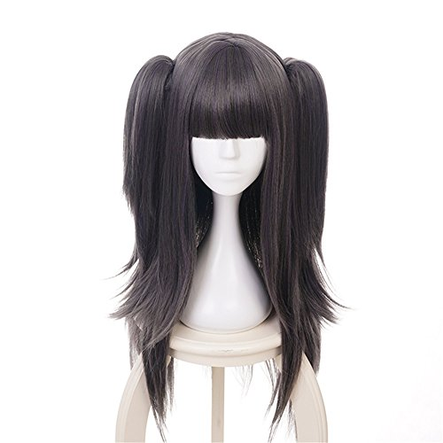 Xingwang Queen Women Girls' Cosplay Wig Long Straight Black Gray Mixed A Little Purple Hair Synthetic Wigs with two Ponytails