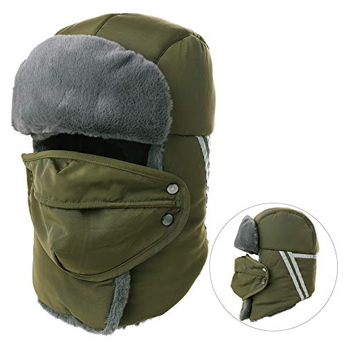 Mens Women Windproof Trapper Faux Fur Ear Flaps Hunting Bomber Russian Hat Face Mask Army Green for $<!--$19.98-->