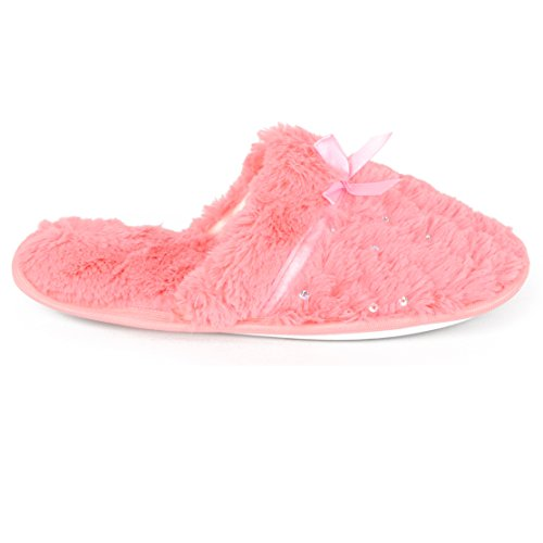 Chatties Womens Plush Pantoffels Koraal
