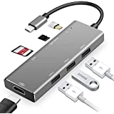 Hiija 7 in 1 USB Type C Hub Adapter USB C Hub HDMI Sd Card,MicroSD,3 USB 3.0 Ports,Power Delivery for MacBook Pro, ChromeBook, XPS, Samsung S9, and More